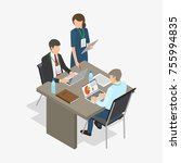three workers  two men sit at... | Shutterstock . vector #755994835