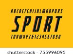 decorative narrow italic sans... | Shutterstock .eps vector #755996095