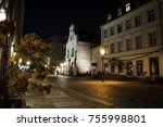 old town city street by night | Shutterstock . vector #755998801