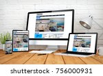 3d rendering with multidevices... | Shutterstock . vector #756000931