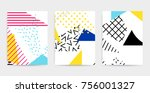 colorful pop art geometric... | Shutterstock .eps vector #756001327