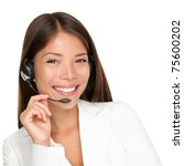 Headset. Customer service operator woman with headset smiling looking at camera. Beautiful mixed race Asian Caucasian call center woman isolated on white background. - stock photo