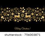 christmas golden background.... | Shutterstock .eps vector #756003871