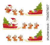 vector christmas collection of  ... | Shutterstock .eps vector #756007807