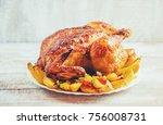 fried chicken. thanksgiving day.... | Shutterstock . vector #756008731