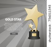 big shiny gold star on stand on ...   Shutterstock .eps vector #756011545