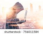 the double exposure image of... | Shutterstock . vector #756011584