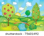 vector illustration of summer... | Shutterstock .eps vector #75601492
