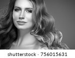amazing woman portrait.... | Shutterstock . vector #756015631