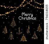 black white gold merry... | Shutterstock .eps vector #756018055