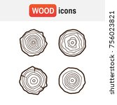 set of four tree rings icons.... | Shutterstock . vector #756023821