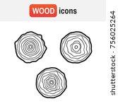 wood tree logo. tree rings... | Shutterstock . vector #756025264
