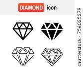 diamond icons set. diamond sign ... | Shutterstock . vector #756025279