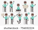 elderly character set  vector... | Shutterstock .eps vector #756032224