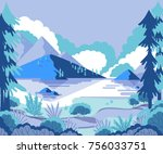 winter landscape with mountains ... | Shutterstock .eps vector #756033751