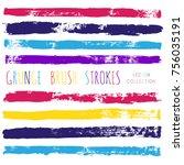 brush strokes set backgrounds.... | Shutterstock .eps vector #756035191