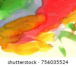 abstract watercolor hand... | Shutterstock . vector #756035524