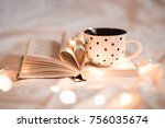 open book with folded sheets in ... | Shutterstock . vector #756035674