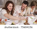 group of attractive young... | Shutterstock . vector #75604156