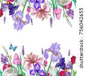 tender floral empty template... | Shutterstock . vector #756042655