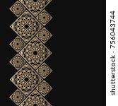 golden frame in oriental style. ... | Shutterstock .eps vector #756043744