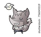 cartoon halloween werewolf   Shutterstock .eps vector #756045319