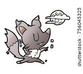 cartoon halloween werewolf... | Shutterstock .eps vector #756045325