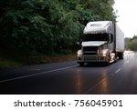 white modern big rig semi truck ... | Shutterstock . vector #756045901