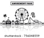 amusement park black silhouette ... | Shutterstock .eps vector #756048559