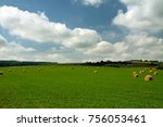 straw bales on the field | Shutterstock . vector #756053461