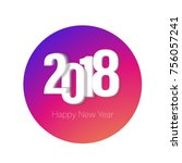 2018 colorful logo happy new... | Shutterstock .eps vector #756057241