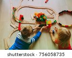 kids playing with toy railroad... | Shutterstock . vector #756058735