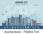urban landscape with... | Shutterstock .eps vector #756061714