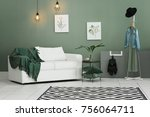 cozy room interior with carpet... | Shutterstock . vector #756064711