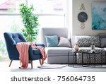 design of modern living room...   Shutterstock . vector #756064735
