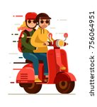 hipster young couple riding red ... | Shutterstock .eps vector #756064951