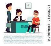 man in bank flat illustration   ... | Shutterstock .eps vector #756066775
