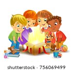 kids opening a magic gifts ... | Shutterstock .eps vector #756069499