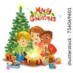 kids opening a magic gifts... | Shutterstock .eps vector #756069601
