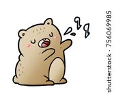 cartoon bear singing a song | Shutterstock .eps vector #756069985