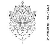 henna tattoo flower template in ... | Shutterstock .eps vector #756071335