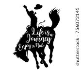 silhouette of a cowboy riding a ... | Shutterstock .eps vector #756072145