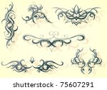 tribal art set | Shutterstock .eps vector #75607291