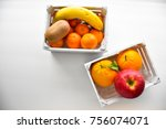 two fruit boxes view vertical... | Shutterstock . vector #756074071