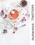 red fruit tart with meringues...   Shutterstock . vector #756075595