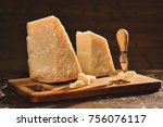 parmesan cheese composition  on ... | Shutterstock . vector #756076117