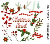 christmas floral wreath winter... | Shutterstock .eps vector #756076789