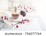 cupcake with white cream over... | Shutterstock . vector #756077764