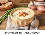 bowl of yummy potato soup with... | Shutterstock . vector #756078904
