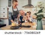 young girl having breakfast...   Shutterstock . vector #756080269